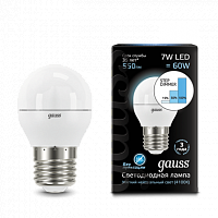 Лампа Gauss LED Шар E27 7W 550lm 4100K step dimmable 1/10/100