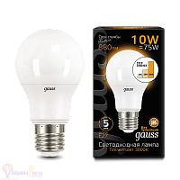 Лампа Gauss LED A60 10W E27 880lm 2700K step dimmable 1/10/50