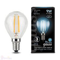 Лампа Gauss LED Filament Шар E14 9W 710lm 4100K 1/10/50