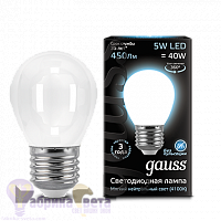 Лампа Gauss LED Filament Шар OPAL E27 5W 450lm 4100K 1/10/50