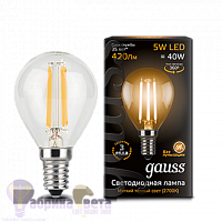 Лампа Gauss LED Filament Шар E14 5W 420lm 2700K 1/10/50