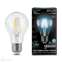 Лампа Gauss LED Filament A60 E27 8W 780lm 4100К 1/10/40