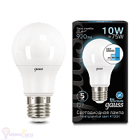 Лампа Gauss LED A60 10W E27 920lm 4100K step dimmable 1/10/50