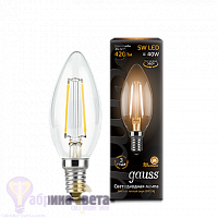 Лампа Gauss LED Filament Свеча E14 5W 420lm 2700К 1/10/50