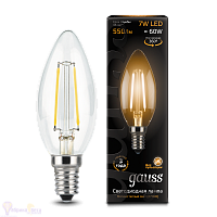 Лампа Gauss LED Filament Свеча E14 7W 550lm 2700К 1/10/50