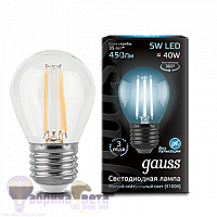 Лампа Gauss LED Filament Шар E27 5W 450lm 4100K 1/10/50