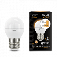Лампа Gauss LED Шар E27 7W 520lm 3000K step dimmable 1/10/100