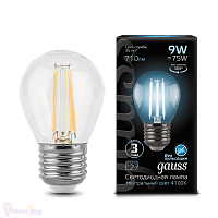 Лампа Gauss LED Filament Шар E27 9W 710lm 4100K 1/10/50