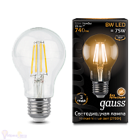 Лампа Gauss LED Filament A60 E27 8W 740lm 2700К 1/10/40