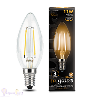Лампа Gauss LED Filament Свеча E14 11W 720lm 2700К 1/10/50