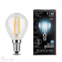 Лампа Gauss LED Filament Шар E14 11W 750lm 4100K 1/10/50