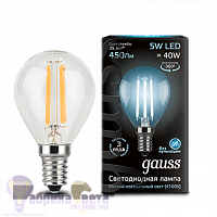 Лампа Gauss LED Filament Шар E14 5W 450lm 4100K 1/10/50
